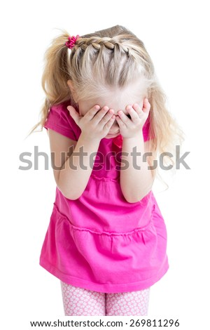 child little girl cover her face with hands isolated on white background - stock photo