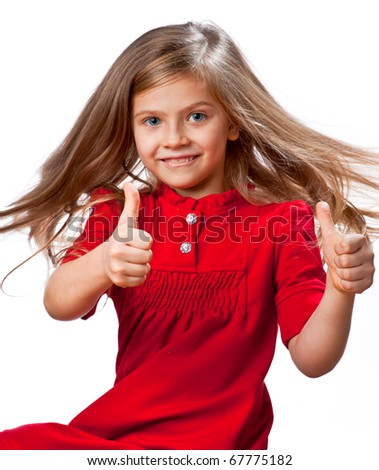 Child looking at you pointing up with laugh isolated on white - stock photo
