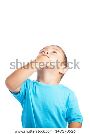 child looking up with a thinking pose on a white background - stock photo