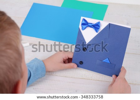 Child Making Greeting Card Father Handmade Stock Photo Edit Now