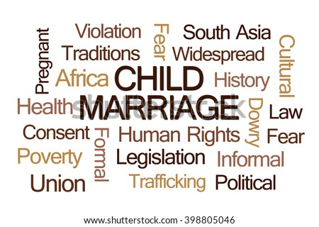 Child Marriage Word Cloud on White Background