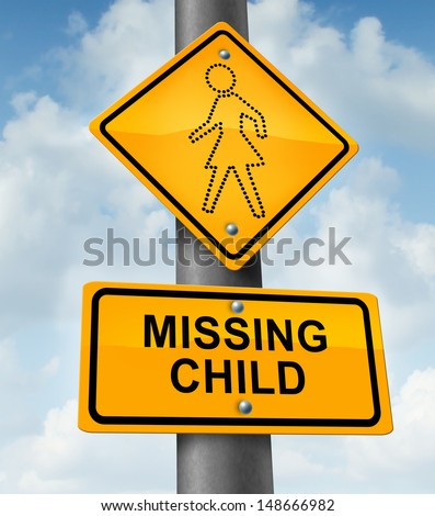 Child missing concept as a yellow school crossing traffic sign with a dotted figure of a  girl as an icon of children losing their childhood and lost in a failed adoption or despair due to abduction. - stock photo