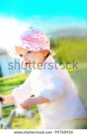 child on bike - stock photo