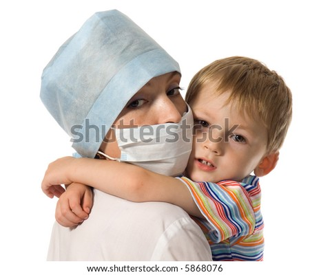 Child on hands at doctor - stock photo