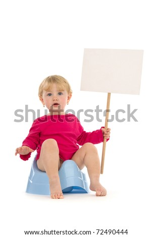 Child on potty with place for your advertisement, poise, on white background. - stock photo