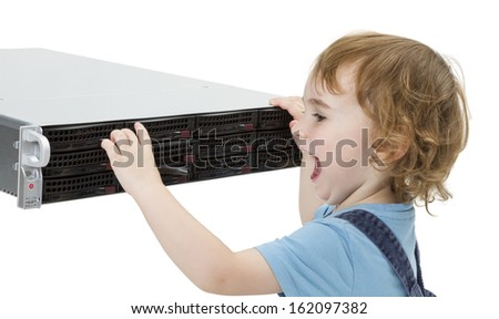 child opening hot swap tray on modern network server. isolated on white background - stock photo