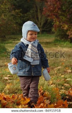 Child Outdoor Autumn - stock photo