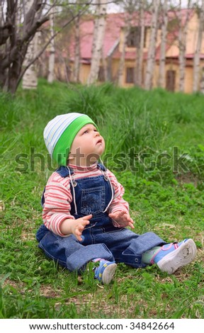 child outdoors - stock photo