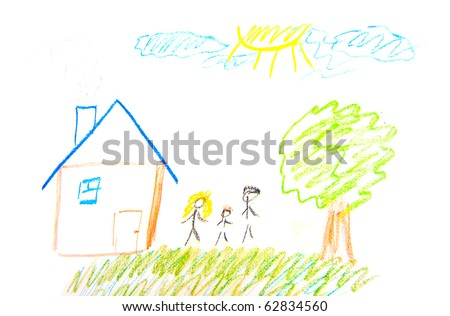 Child Painting family and home on white - stock photo