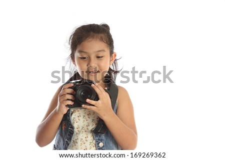 Child photographer viewer His taken interested.Smile am glad that nice. Isolated over white background. - stock photo