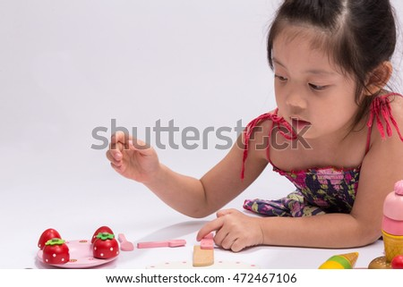 Child Playing Cooking Toy Set, Isolated