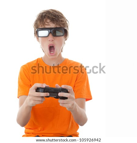 child playing video game with 3D glasses - stock photo