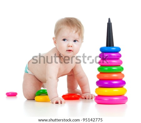child playing with color developmental toy - stock photo