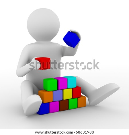 child plays cubes on white. Isolated 3D image - stock photo