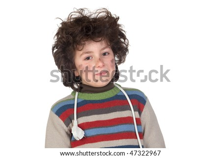 Child plug receiving electric shock isolated on white background - stock photo
