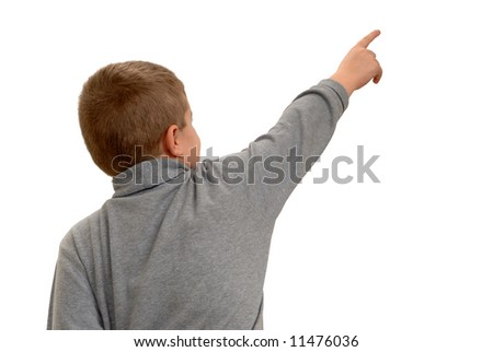 Child Pointing Into White Space - stock photo