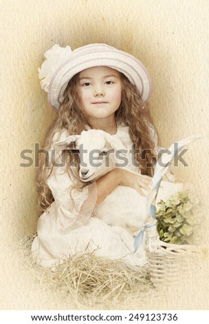 Child posing with her pet goat. Artistic style with texture - stock photo
