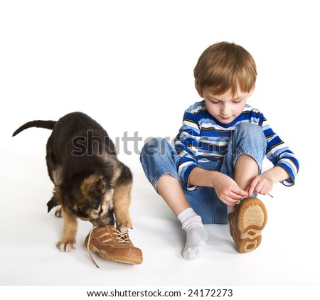 Child, puppy and shoes - stock photo