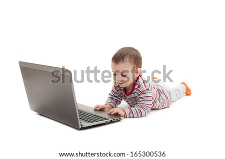 child push button on the laptop isolated on white background - stock photo