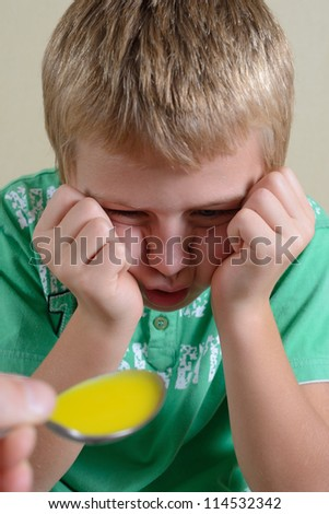 Child Refuses to Take Medicine - stock photo