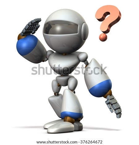 Child robot is overlooking. He is looking for something. - stock photo