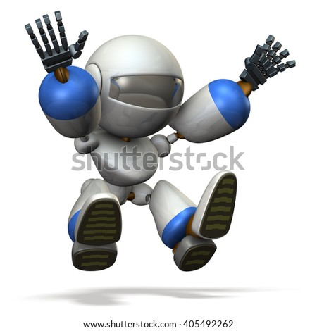 Child robot plays with the long jump.  3D illustration - stock photo