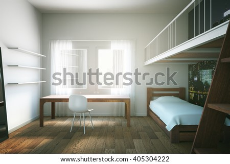 Child room interior design with wooden furniture and floor. 3D Rendering