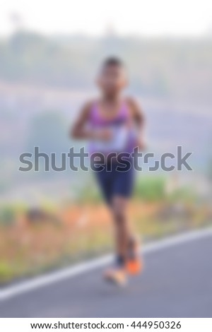 Child runner on street   - stock photo