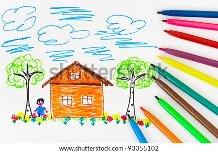 Child's drawing and pens - abstract art background - stock photo