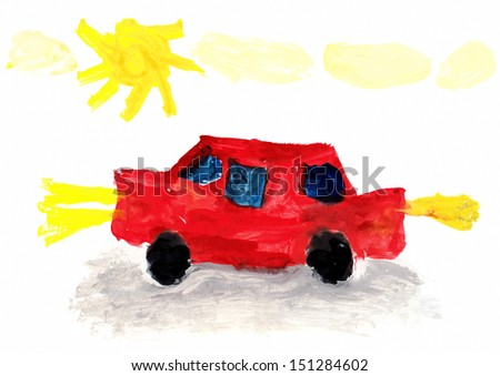 Child's Drawing Car: Child's Drawing of a Car going Outdoors - stock photo