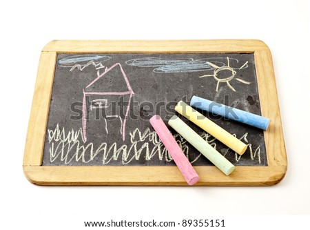 child's drawing made with chalk - stock photo