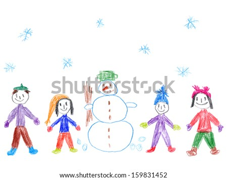 Child's drawing of a family with snowman in snowy weather.  - stock photo