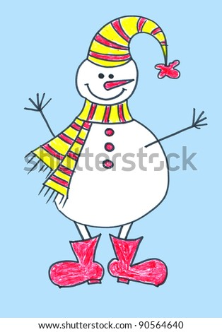 Child's drawing of a snowman in hat and boots - stock photo