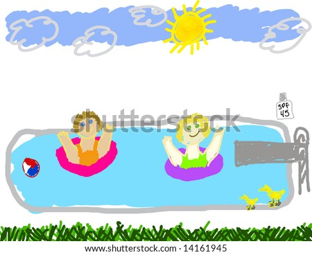 Childs drawing summer swimming pool party stock for Swimming pool drawing