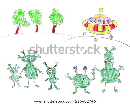 Child's drawing of alien landing on Earth. Happy aliens examine our world. - stock photo