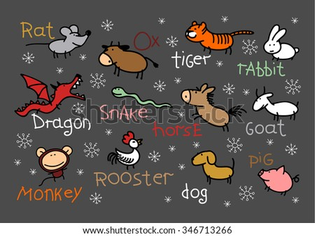 Child's drawing of Chinese Zodiac signs - stock photo