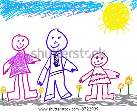 Child's Drawing of Family - stock photo