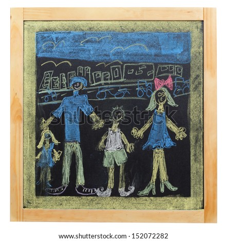 child`s drawing of family on chalkboard - stock photo
