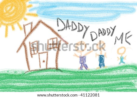 Child's drawing of family unit outside house. Two fathers and one child. - stock photo