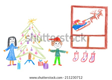 Child's drawing of happy Christmas. Kids under Christmas tree. Santa Claus in window is leaving house. - stock photo