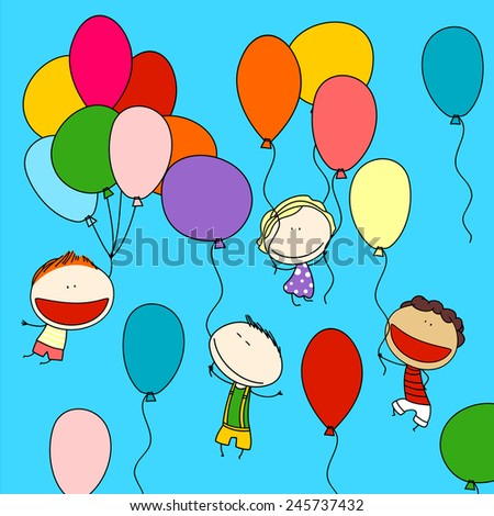 Child's drawing of happy friends with colorful balloons, enjoying their flight high in the sky (raster version) - stock photo