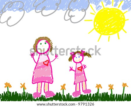 Child's drawing of her & mom - stock photo