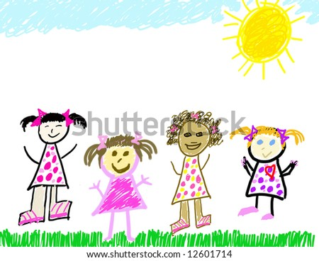 Child's drawing of herself & diverse friends - stock photo