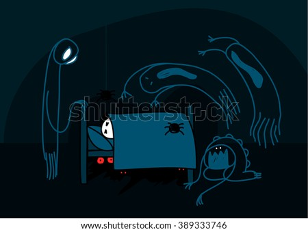 Child's drawing of nightmare creatures (raster version) - stock photo