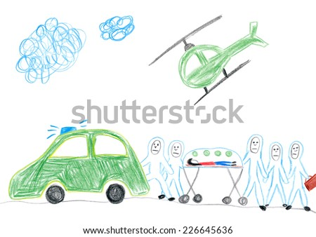 Child's drawing of paramedics transporting Ebola infected patient. - stock photo