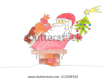 Child's drawing of Santa Claus falling in chimney on Christmas night. - stock photo