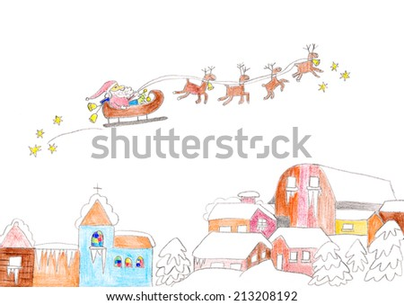 Child's drawing of Santa Claus flying over houses with reindeer sleigh. - stock photo