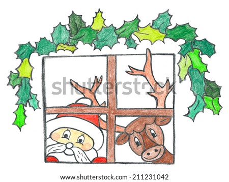 Child's drawing of Santa Claus with reindeer looking inside home through window in beautiful Christmas night. - stock photo