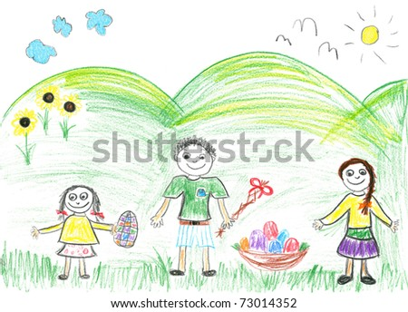 Child's drawing of the Easter. Boy and two girls on the grass with eggs.