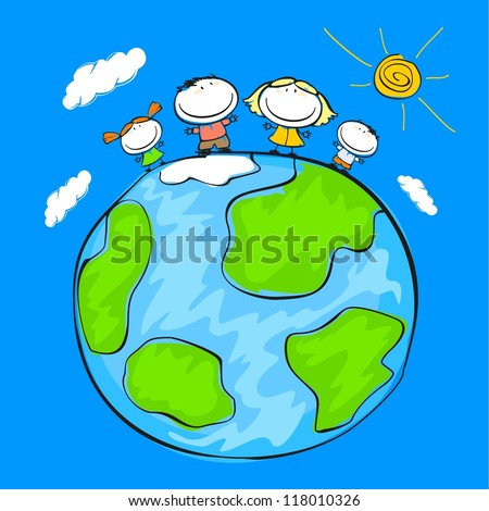 Child's drawing of the happy family on the Earth (raster version) - stock photo